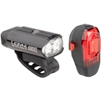 Lezyne Micro Drive 600XL and KTV Headlight and Taillight Set: Gloss Black