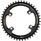 Wolf Tooth Shimano 110 Asymmetric BCD Chainring - 46t, 110 Asymmetric BCD, 4-Bolt, Drop-Stop Flattop, For Shimano GRX Cranks, Black