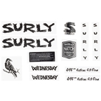 Surly Wednesday Frame Decal Set - Black, with Crow