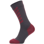 SealSkinz Waterproof Cold Weather Mid Length Hydrostop Socks - 5 inch, Gray/Red