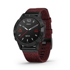 Garmin, fenix 6, Sapphire, Watch, Watch Color: Black, Wristband: Red - Nylon
