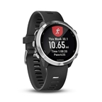 Garmin, Forerunner 645, Watch, Watch Color: Silver/ Black, Wristband: Black - Silicone, 010-01863-00