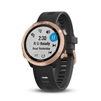 Garmin, Forerunner 645M, Watch, Watch Color: Rose Gold Tone, Wristband: Black - Silicone