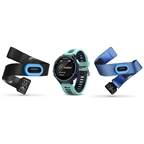 Garmin, Forerunner 735XT Tri Bundle, Watch, Watch Color: Black, Wristband: Blue/ Frost Blue - Silicone