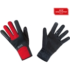 GORE M WINDSTOPPER Thermo Gloves - Black/Red, Full Finger