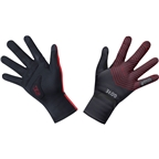 GORE C3 GORE-TEX INFINIUM Stretch Mid Gloves - Black/Red, Full Finger