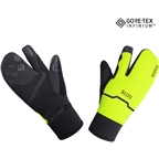GORE GORE-TEX WINDSTOPPER INFINIUM Thermo Split Gloves - Black/Neon Yellow, Lobster Style