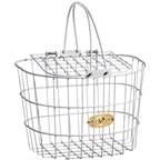 Nantucket Surfside Adult Wire D Handlebar Basket Basket With Lid- White