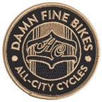 All City Damn Fine Patch - Black, Gold, Ones Size