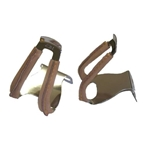 MKS Steel Half Clips with Brown Leather, LG