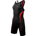 TYR Women's Carbon Aeroback Shortjohn Tri Suit: Black/Red