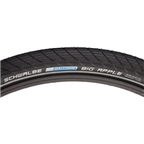 "Schwalbe Big Apple Tire, 26 x 2"" Wire Bead Black with Reflective Sidewall and RaceGuard Protection"