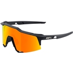 100% Speedcraft Sunglasses: Soft Tact Black Frame with HD Red Multilayer Mirror Lens, Spare Clear Lens Included