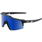 100% Speedcraft Sunglasses: Soft Tact Black Frame with Ice Mirror Lens, Spare Clear Lens Included