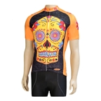 Clean Motion Cycling Jersey Orange Sugar Skull - XL
