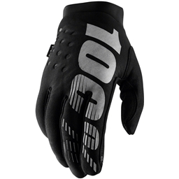 100% Brisker Youth Full Finger Gloves: Black/Gray