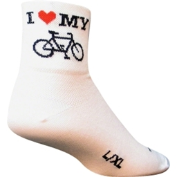 SockGuy I Heart My Bike Sock: White