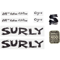 Surly Ogre Decal Set with Headbadge Black
