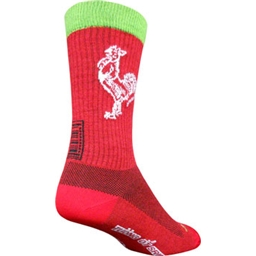 "SockGuy Sriracha Wool 7.5"" Crew Sock: Red"