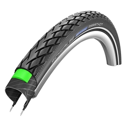 Schwalbe Marathon Tire, 700 x 38 Wire Bead Black with Reflective Sidewall and GreenGuard Protection