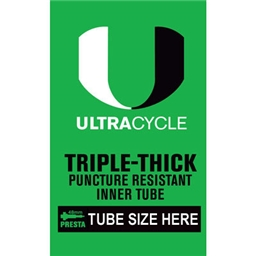 """Ultracycle Triple-Thick/Puncture Resistant Presta Valve Tube 26 x 1.9-2.125"""""""