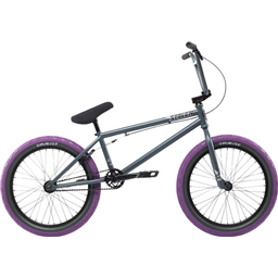 "Stolen 2018 Heist 20"" BMX Bike Primer Gray with Purple Tires"