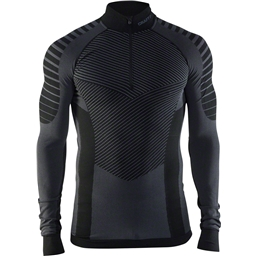Craft Active Intensity Men's Base Layer Zip Neck Top: Black/Granite