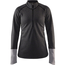 Craft Spark Women's Mid Layer Half Zip Top: Black Melange/Gray Melange