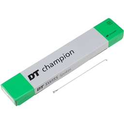 DT Swiss Champion 2.0 Blank Spokes: 315mm Threadless Silver, Box/500 No Nipples