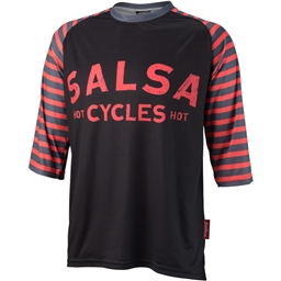 Salsa Devour Men's Short-Sleeve Jersey: Black/Salmon