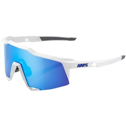 100% SpeedCraft Sunglasses: Matte White Frame with HiPER Blue Multilayer Mirror Lens, Spare Clear Lens Included