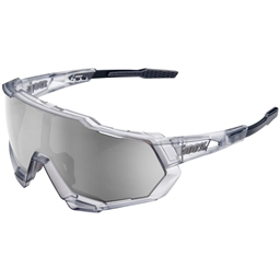 100% SpeedTrap Sunglasses: Matte Translucent Crystal Gray Frame with HiPER Silver Mirror Lens, Spare Clear Lens Included