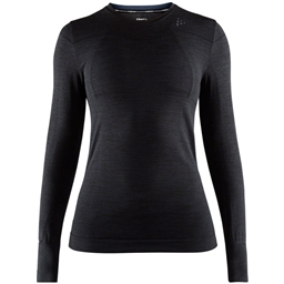 Craft Fuseknit Comfort Women's Round Neck Long Sleeve Base Layer Top: Black