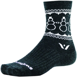 Swiftwick Vision Five Snowman Sock: Coal/White