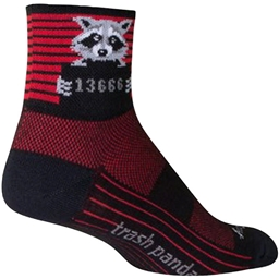 SockGuy Classic Busted Sock: Black/Red Stripe