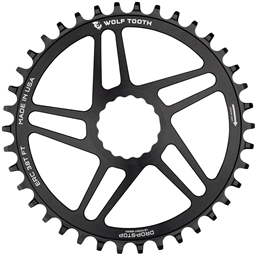 Wolf Tooth Direct Mount Chainring - 46t, RaceFace/Easton CINCH Direct Mount, Drop-Stop, 10/11/12-Speed Eagle and Flattop Compatible, Black