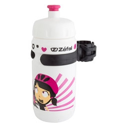 Zefal Little Z Girl 12oz Water Bottle with Cage, White/Pink