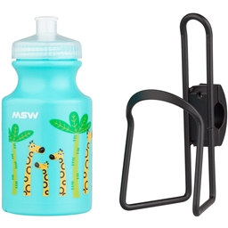 MSW Kids Water Bottle and Cage Kit - Giraffe w/ Black Cage
