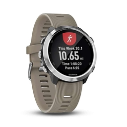 Garmin, Forerunner 645, Watch, Watch Color: Silver/ Black, Wristband: Sandstone - Silicone