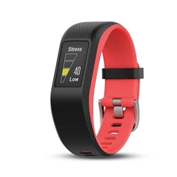 Garmin, vívosport, Watch, Watch Color: Black/ Fuchsia, Wristband: Black - Silicone - L