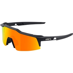 100% Speedcraft SL Sunglasses: Soft Tact Black Frame with HD Red Multilayer Mirror Lens, Spare Clear Lens Included