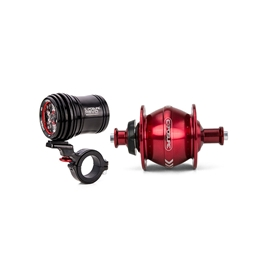 Exposure Lights Revo Dynamo Light with 32 Spoke Red Rim Brake Hub