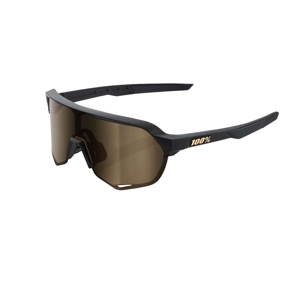 100 S2 Sunglasses Matte Black Flash Gold Lens Modern Bike