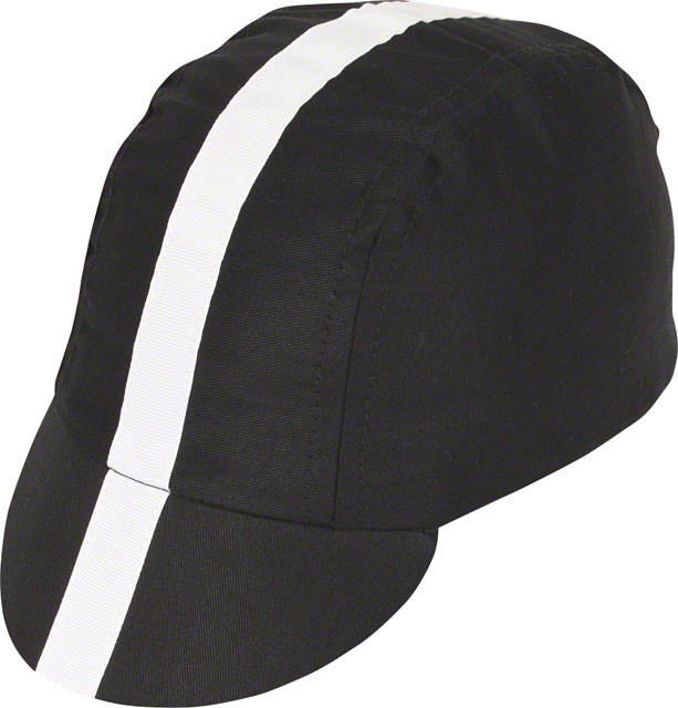 Pace Sportswear Classic Cycling Cap Black with White Tape XL