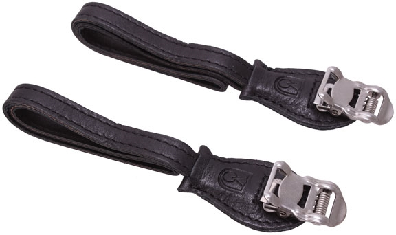 Velo Orange Grand Cru laminated leather toe straps black
