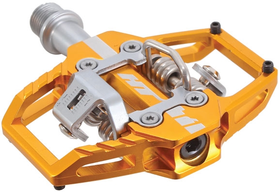 gold HT Pedals T1 clipless platform pedals CrMo spindle