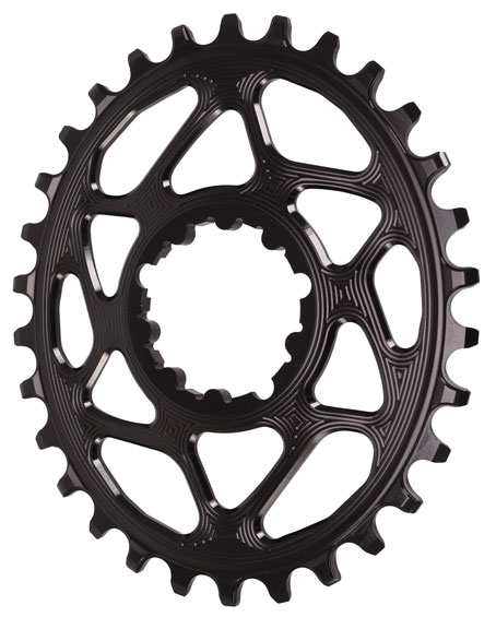black Absolute Black Spiderless GXP DM Oval chainring 28T