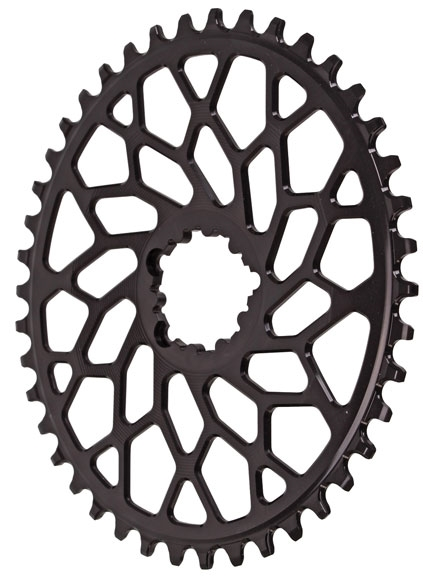 38T Absolute Black Spiderless GXP//BB30 DM CX oval chainring black
