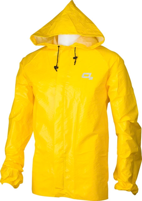 O2 Hooded Rain Jacket with Drop Tail Yellow 2XL