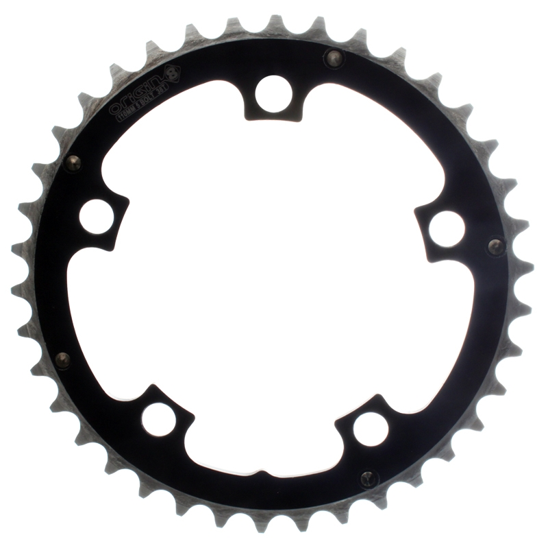 ORIGIN8 RAMPED 110mm 5-BOLT 38T  BLACK ALLOY BICYCLE CHAINRING